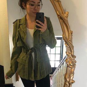 Hei Hei Anthro Green ruffle-back jacket